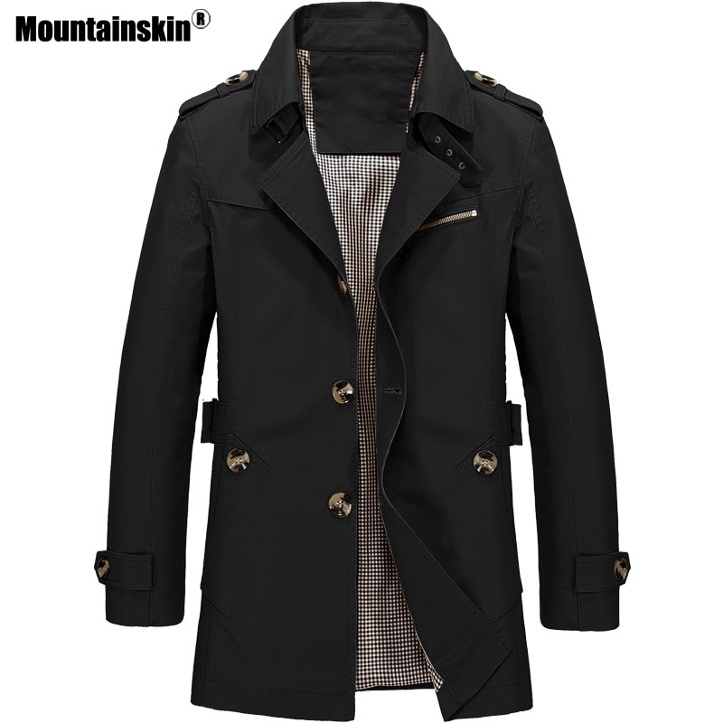 ae601d2c168 Home / Men's Clothing / Streetwear / Mountainskin Men's Jacket Slim Fit  Spring Autumn Casual Trench Coat Mens Brand Clothing Fashion Coats Male  Outerwear ...
