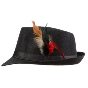 6ea10d0a Xthree Trendy Unisex Side with feathers Fedora Trilby Gangster Cap For Women  Summer Beach Sun Straw Panama Hat Men Fashion Hats