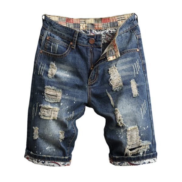 Leisure Mens Ripped Short Jeans Brand Clothing Summer 2019 Loose Recreational Break Hole Drape Inside Turn Over Denim Male