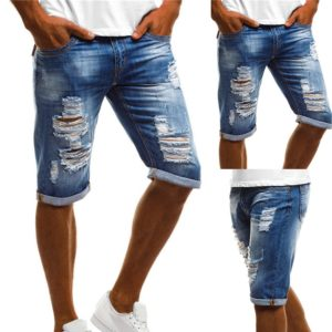 Mens Denim Chino Shorts Super STRETCH Skinny Slim Summer Half Pant Cargo Jeans