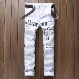 2020 Hip Hop Printing White Denim Pant Men Slim Fit Stretch Pant Newspaper Print Pants Men Casual Printed Trousers for Male