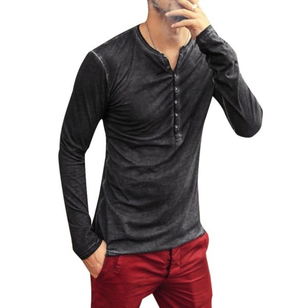 2020 Men Tee Shirt V-neck Long Sleeve Tee&Tops Stylish Slim Buttons T-shirt Autumn Casual Solid Male Clothing Plus Size 3XL