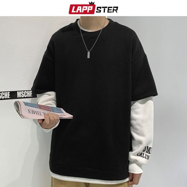 LAPPSTER Men Streetwear Fake Two Pieces Hoodies 2020 Pullover Mens Black Oversized Sweatshirts Male Korean Fashions Hoodie 5XL