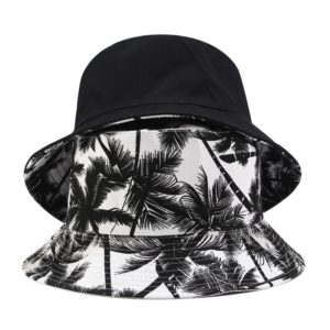 2019 New Unisex Fashion Summer Reversible Black White Coconut Tree Printed Fisherman Caps Bucket Hats Gorro Pescador Men Women