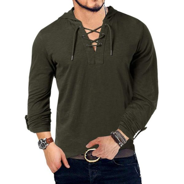 New Fashion Men's Hooded Tee Long Sleeve Cotton Henley T-Shirt Medieval Lace Up V Neck Outdoor Tee Tops Loose Casual Solid Shirt