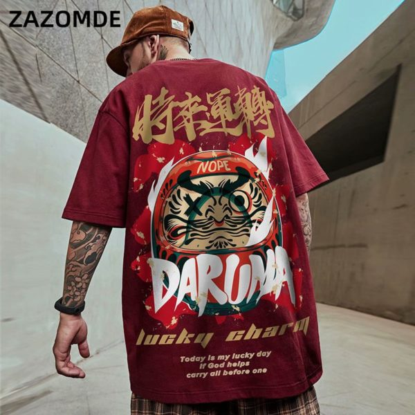 Men's T-Shirts 2020 Chinese Style Lucky Printed Short Sleeve Tshirts Summer Hip Hop Casual Cotton Tops Tees Streetwear