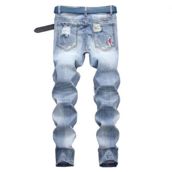 Jeans Men Vintage Clothing Hiphop Streetwear Distressed White Medium Moustache Effect Casual High Fashion Pants