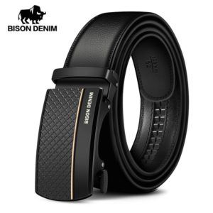 BISON DENIM Genuine Leather Automatic Men Belt Luxury Strap Belt for Men Designer Belts Men High Quality Fashion Belt N71416