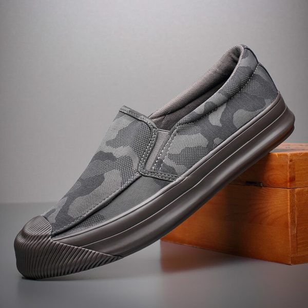 2020 New Camouflage Canvas Sneaker Shoes Men's Breathable Leisure Vulcanize Shoes Lazy Platform Trend All-match Loafer Shoes