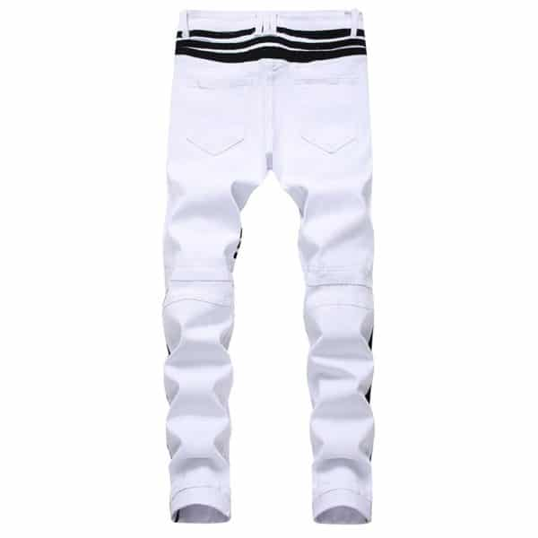 New White Men's Jeans Straight Denim Jeans with Zippers Contrast Color Stripe Male Pants Slim Plus Size Trousers