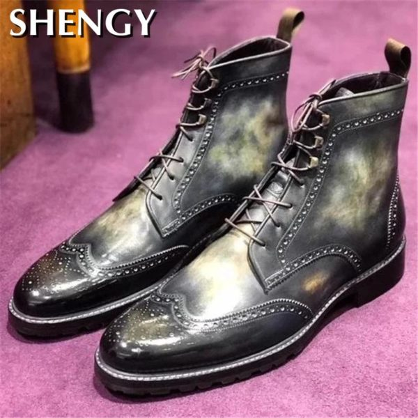 Ankle Men Boots Lace Up Low Heels Matin Red Casual Shoes Male Outdoors Booots Man Shoe Men's Vintage Leather Booties Zapatillas
