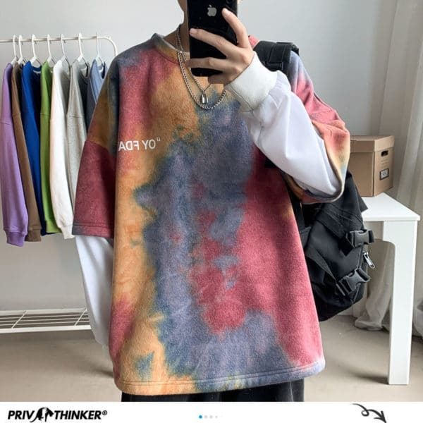 Privathinker Korean Style Tie Dye Printed Men Hoodies 2020 Autumn Fashion Men's Hooded Sweatshirts Colorful Male Hip Hop Tops