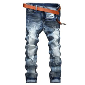 Gersri Men stretch jeans light blue jeans men spring and summer brand men casual lapel men slim denim trousers jean for male