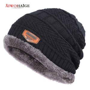2020 New Brand Solid Color Knit Beanie Hat Men's Winter Hats Boy Warm Plus Velvet Thicken Hedging Cap Skullies Wool Bone Male