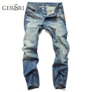 Gersri Jeans Men Winter Autumn Stretch Denim Jeans Man Elastic Casual Slim Jean Botton Pants Male Quality Jeans Cotton Plus Size