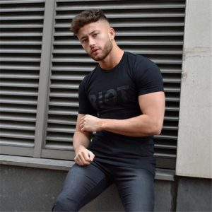 Men Short sleeve t shirt Cotton Casual Fitness slim Male Gyms Bodybuilding Tees Tops Summer Fashion clothing camiseta masculina