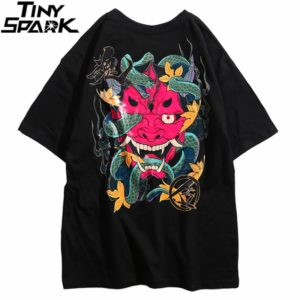 2020 Hip Hop T Shirt Men Snake Ghost T-shirt Harajuku Streetwear Tshirt Cotton Short Sleeve Summer Tops Tee HipHop Back Printed