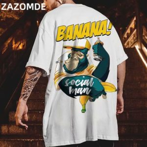 ZAZOMDE Hip Hop mens cotton T-shirt fashion loose men BF student banana print short-sleeved tees cool man wear Round neck tshirt