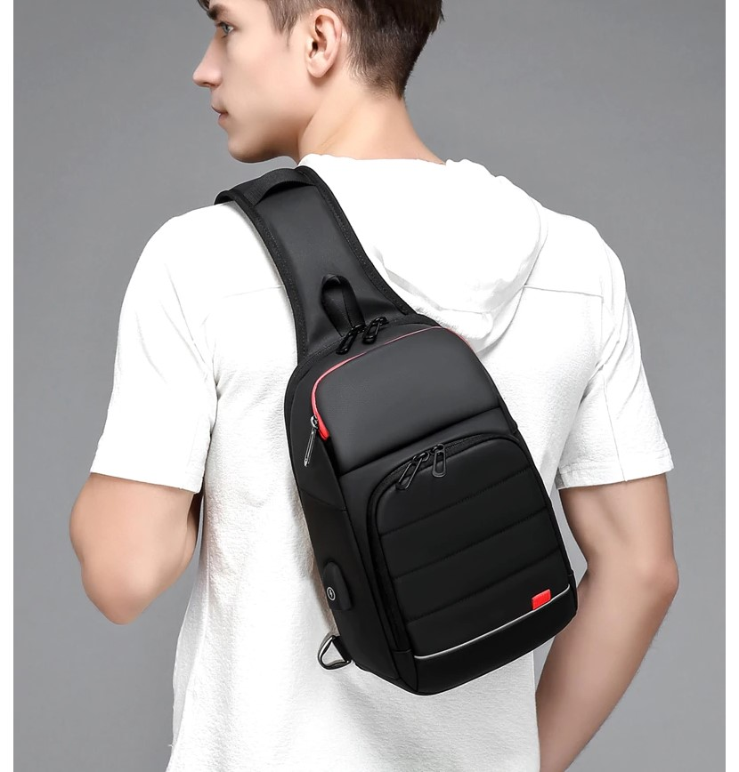 Men's Solid Black One Shoulder Backpack