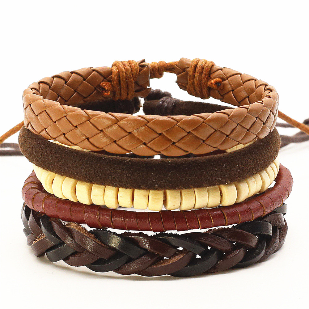 Cute Handmade Multilayered Leather Charm Bracelet