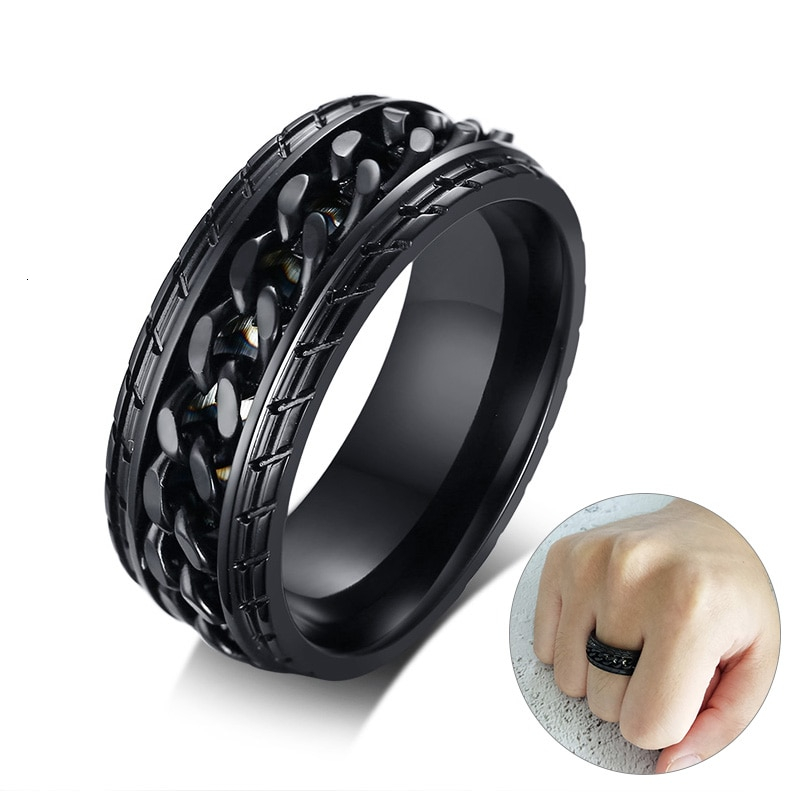 Rotatable Black Chain Rings for Men