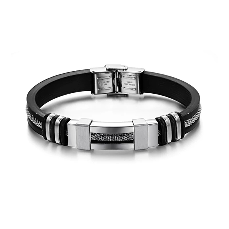 Men's Stainless Steel and Silicone Punk Bracelet