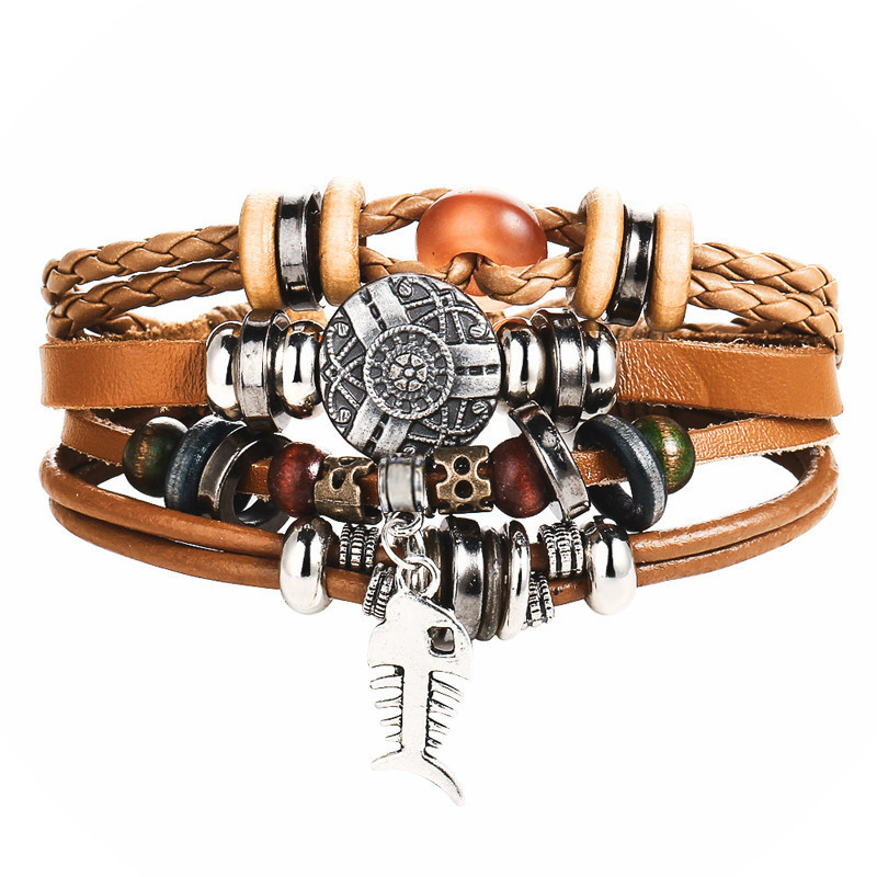 Boho Style Multilayer Leather Men's Bracelet
