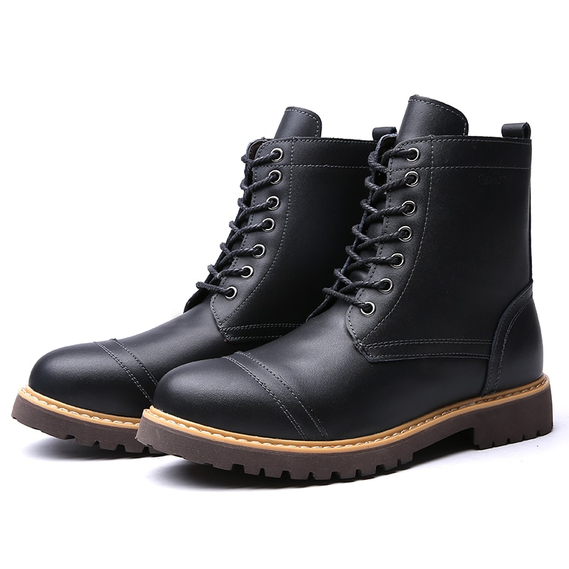 New Brand Men Chelsea Snow Boots Leather Winter Autumn Motorcycle Ankle Boots Men Shoes Western Work Safety red high top shoes