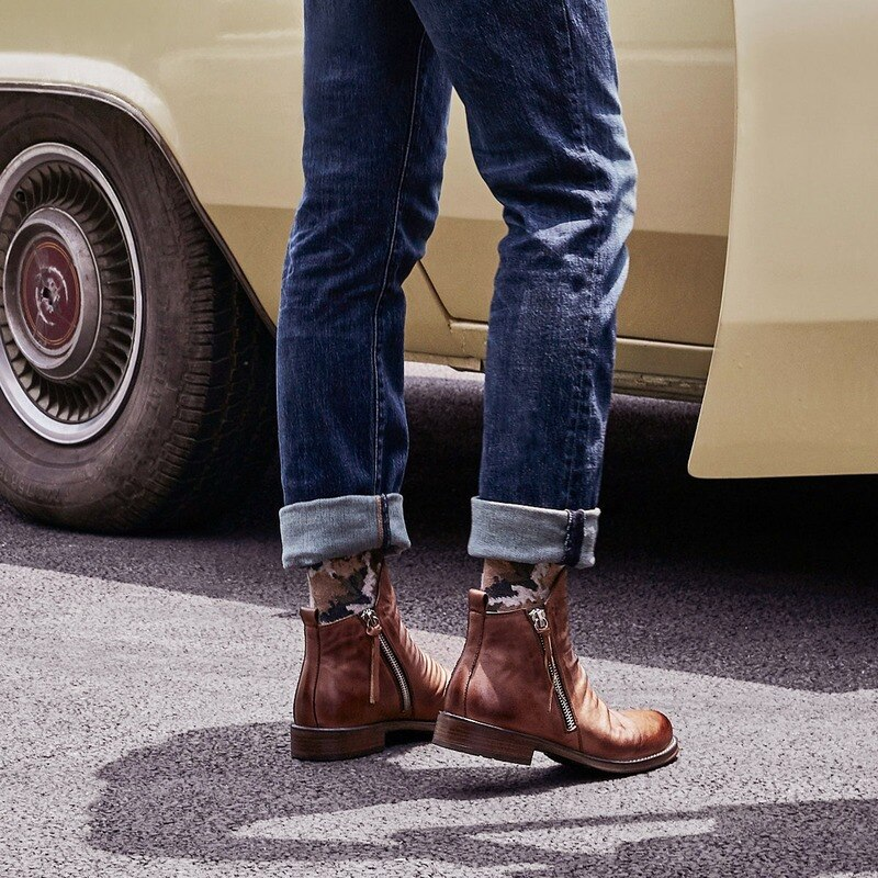 Double Zipper Non-slip Bottom Mens Single Boots Plus Size 38-48 Men's Motorcycle Boots Chelsea Boots Men Leather Dress Shoes