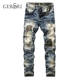 Gersri European American Style famous brand mens Fashion jeans luxury Men's denim trousers Hole Slim Straight zipper jeans pants